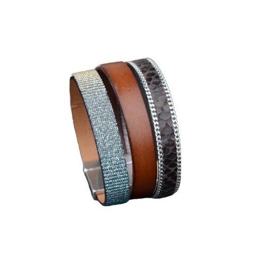 Bracelet cuir multirangs