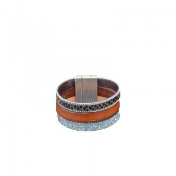 Bracelet cuir multirangs